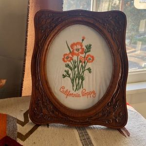Vintage wood frame w/ California poppy embroidery